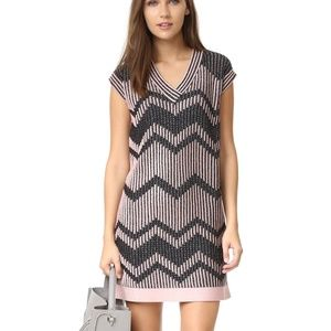 M Missoni Bicolor Chevron V-Neck Knit Dress